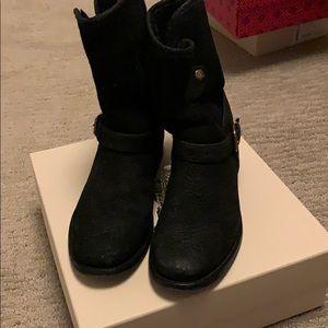 Burberry Black Suede Bootie Fur Inside Size 38